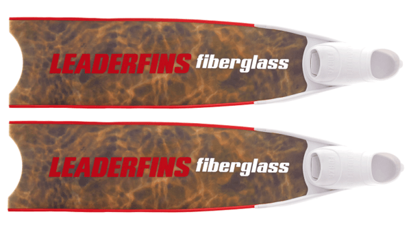 Leaderfins brown camo bi-fins red and white