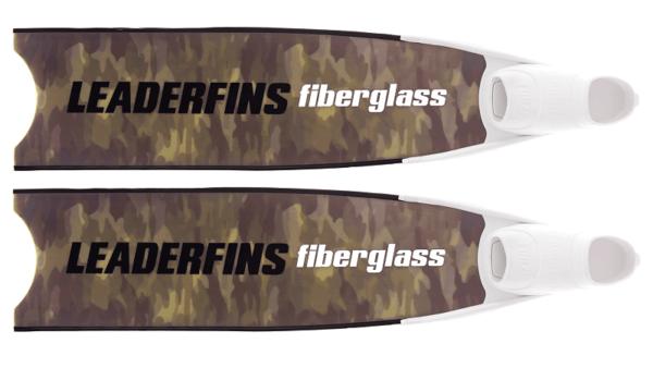 Leaderfins fiberglass green camo fins black and white