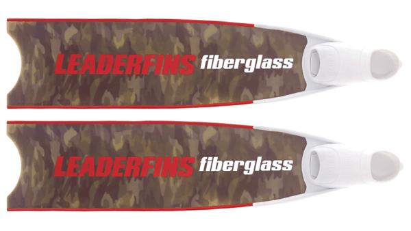 Leaderfins fiberglass green camo fins red and white