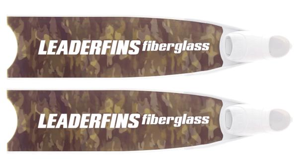 Leaderfins fiberglass green camo fins white