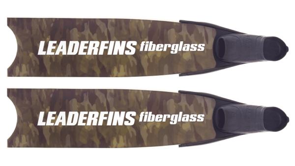 Leaderfins fiberglass green camo fins white and black