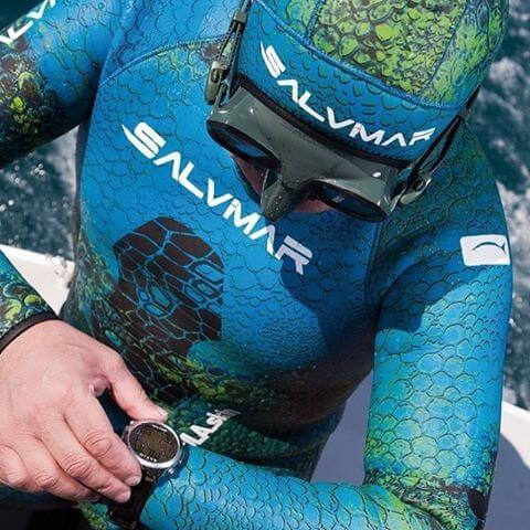 Salvimar Nebula Blue wetsuit being worn