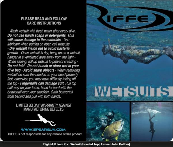 Riffe Digi-tek slim fit camo wetsuit - instructions