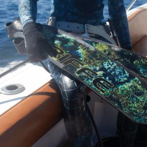 Riffe carbon digi-tek fin blades on boat