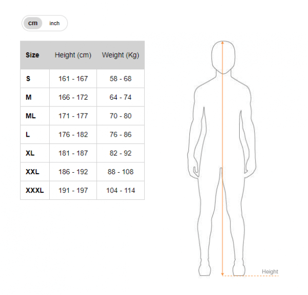 Picasso wetsuit size chart - cm
