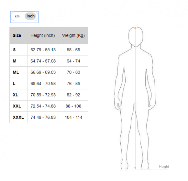 Picasso wetsuit size chart - inches