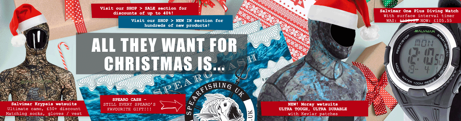 Spearfishing gear Christmas Banner
